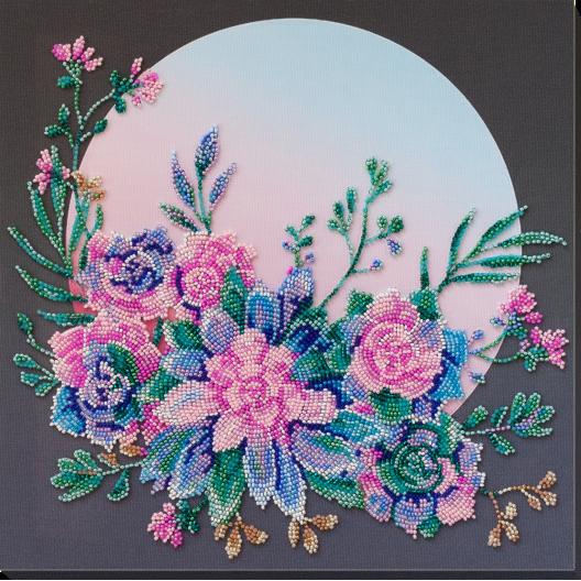 """Набір для вишивання бісером на натуральному художньому холсті """"Місячні квіти"""""""
