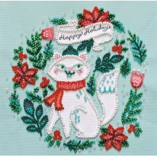 """Набір-міні для вишивання на натуральному художньому холсті """"Кішечка в шарфику"""""""