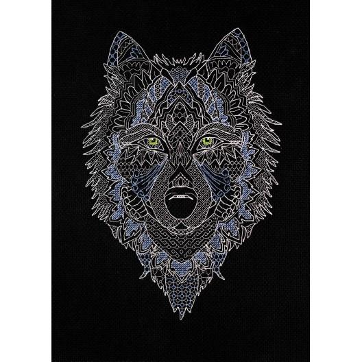 """Набір для вишивання хрестиком """"Сріблястий вовк"""""""