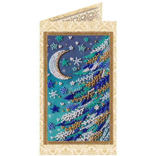 """Набір-листівка для вишивання бісером """"Снігова ніч"""""""