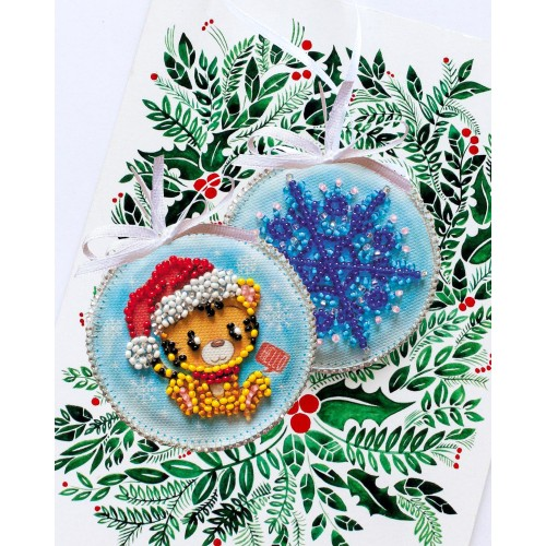 """Набір для вишивання бісером новорічної іграшки на натуральному художньому холсті """"Тигреня"""""""