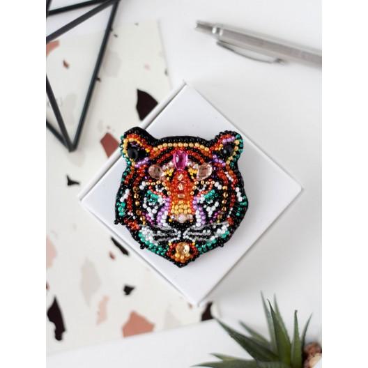 """Набір для вишивання бісером прикраси на натуральному художньому холсті """"Тигр"""""""