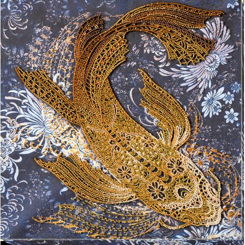"""Набір для вишивання бісером на натуральному художньому холсті """"Грошова рибка """""""