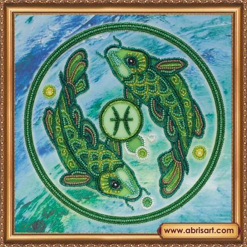 """Набір для вишивання бісером на натуральному художньому холсті """"Знаки Зодіаку """"Риби"""""""