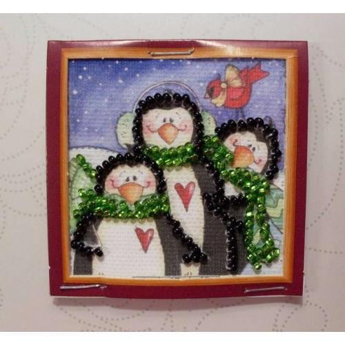 """Набір для вишивання бісером """"Магніт міні"""" Родина пінгвінів"""