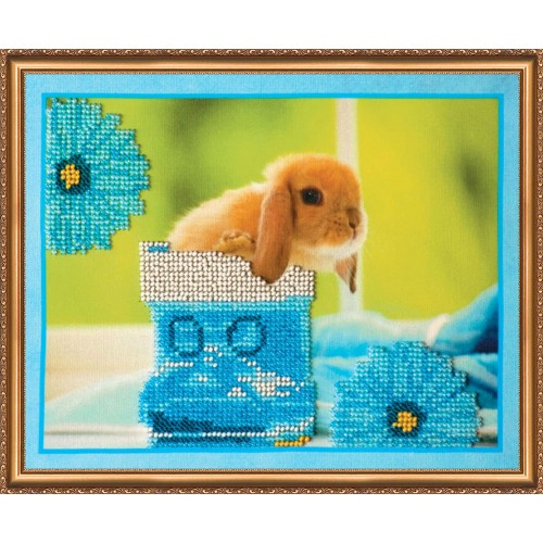 """Набір для вишивання бісером на натуральному художньому холсті """"Кролики-3"""""""