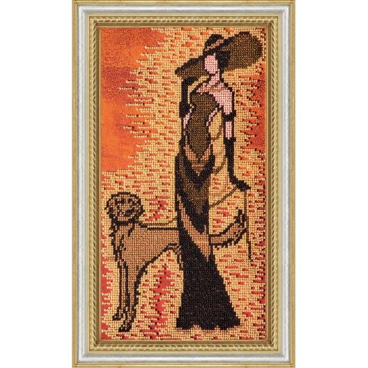 """Набір для вишивання бісером на натуральному художньому холсті """"Дама із собачкою"""""""