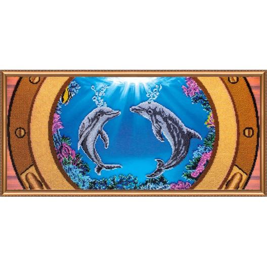 """Набір для вишивання бісером на натуральному художньому холсті """"Дельфіни"""""""