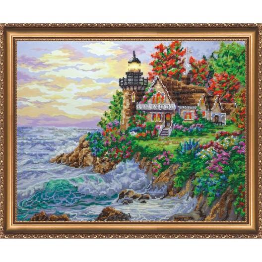 """Набір для вишивання бісером на натуральному художньому холсті """"Будиночок біля моря"""""""