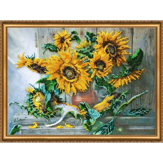 """Набір для вишивання бісером на натуральному художньому холсті """"Квіти сонця"""""""