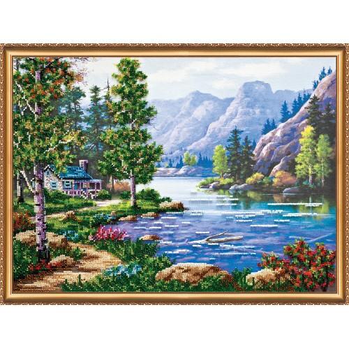 """Набір для вишивання бісером на натуральному художньому холсті """"Ранок у горах"""""""
