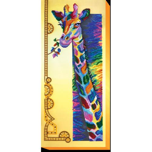 """Набір для вишивання бісером на натуральному художньому холсті """"Райдужна жирафа"""""""