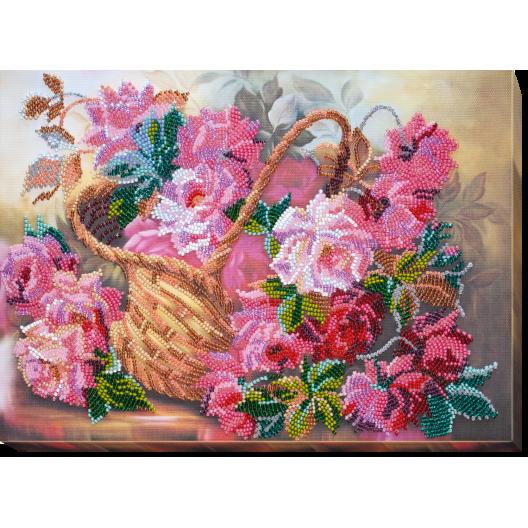 """Набір для вишивання бісером на натуральному художньому холсті """"Рожева ніжність"""""""