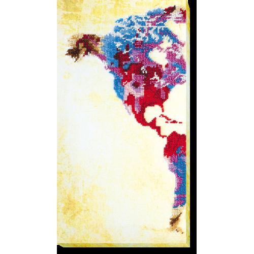 """Набір для вишивання бісером на натуральному художньому холсті """"Мапа світу-1"""""""