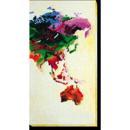 """Набір для вишивання бісером на натуральному художньому холсті """"Мапа світу-3"""""""