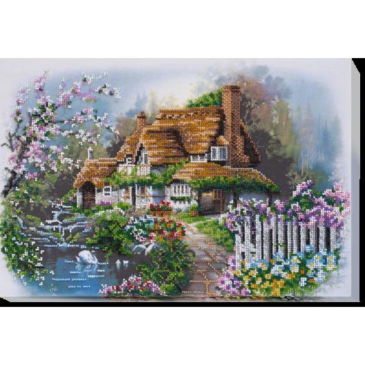 """Набір для вишивання бісером на натуральному художньому холсті """"Будиночок на озері"""""""