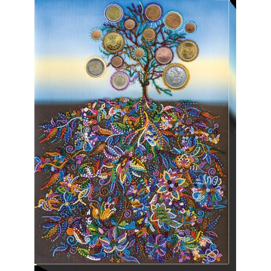 """Набір для вишивання бісером на натуральному художньому холсті """"Грошове дерево"""""""