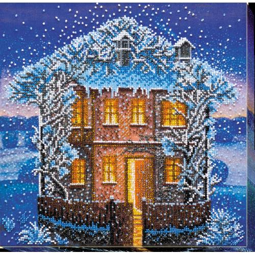 """Набір для вишивання бісером на натуральному художньому холсті """"Зимова ніч"""""""