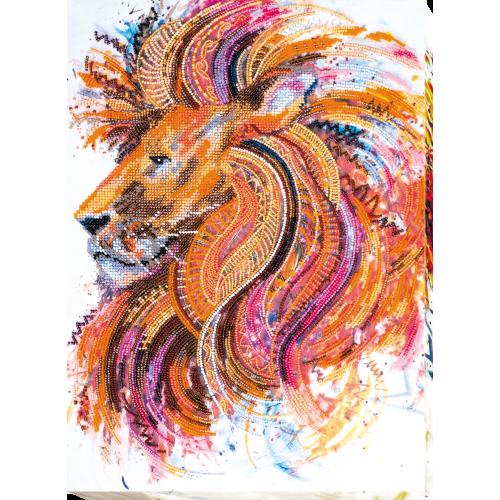 """Набір для вишивання бісером на натуральному художньому холсті """"Вогнегривий лев"""""""
