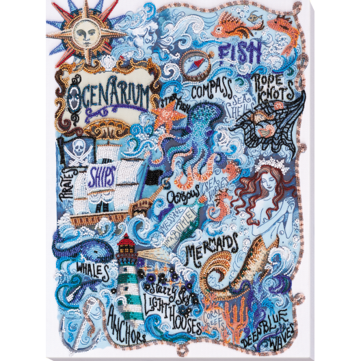 """Набір для вишивання бісером на натуральному художньому холсті """"Таємниці океану"""""""