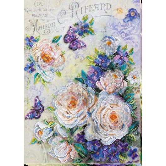 """Набір для вишивання бісером на натуральному художньому холсті """"Квіти для коханої"""""""