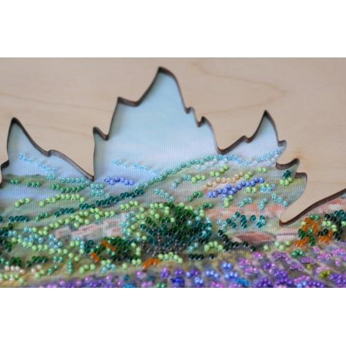"""Набір для вишивання бісером на натуральному художньому холсті """"Поля Провансу"""" з дерев'яною рамкою"""