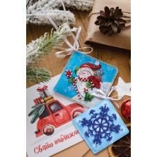 """Набір для вишивання бісером новорічної іграшки на натуральному художньому холсті """"Дарую подарунки!"""""""