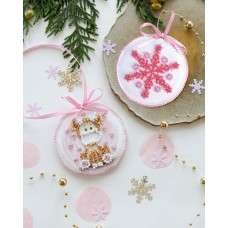 """Набір для вишивання бісером новорічної іграшки на натуральному художньому холсті """"Малятко"""""""