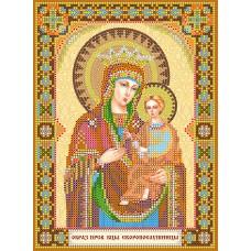 """Схема для вишивання бісером на натуральному художньому холсті """"Ікона Божої Матері """"Скоропослушниця"""""""