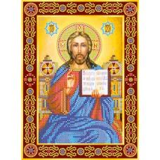 """Схема для вишивання бісером на натуральному художньому холсті """"Ікона """"Вінчальна пара. Ісус"""""""