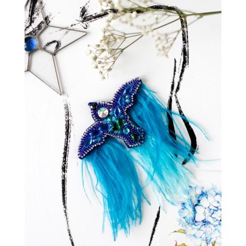 """Набір для вишивання бісером прикраси на натуральному художньому холсті """"Синій птах"""""""