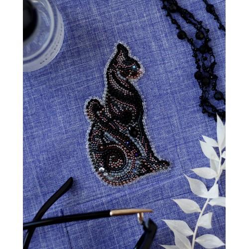 """Набір для вишивання бісером прикраси на натуральному художньому холсті Паттернхолст """"Баст в ночі-A"""""""