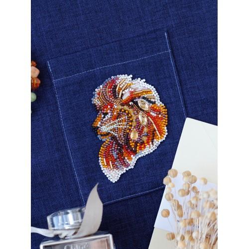 """Набір для вишивання бісером прикраси на натуральному художньому холсті Паттернхолст """"Вогнегривий лев-А"""""""