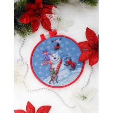 """Набір для вишивання хрестиком """"Котик-сніговик"""""""