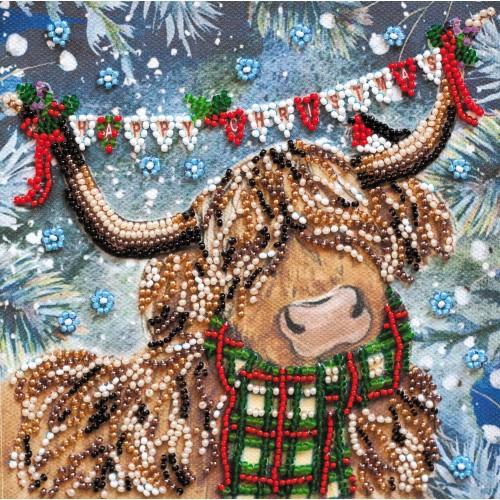 """Набір-міні для вишивання на натуральному художньому холсті """"Різдвяний бичок"""""""