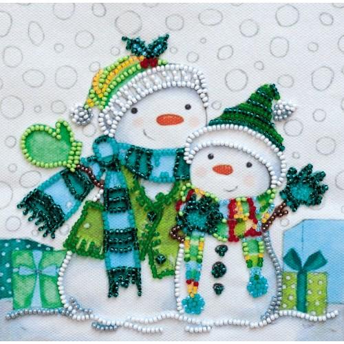 """Набір-міні для вишивання на натуральному художньому холсті """"Снігові друзі"""""""