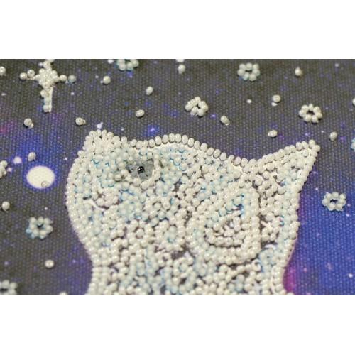 """Набір-міді для вишивання бісером на натуральному художньому холсті """"Зоряний кіт"""""""