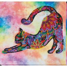 """Набір-міді для вишивання бісером на натуральному художньому холсті """"Грайливе кошеня"""""""