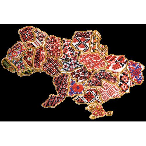 """Набір для вишивання бісером """"Магніт """"Мапа України"""" Тернопільска область"""