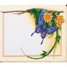 """Набір для вишивання бісером на натуральному художньому холсті """"Блакитний метелик"""""""